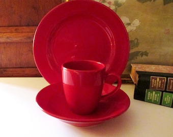 Waechtersbach Germany Fun Factory Red Dinnerware, Dinner Plate, Bowl, Latte Mug, Cherry Red, Holiday China, Fourth of July, Christmas