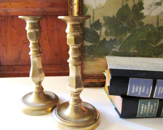 Featured listing image: Vintage Brass Candlesticks, Classic Chinese Import Candleholders, Brass Decor, Chinoiserie Decor, Mantel Decor