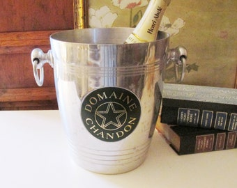 Vintage French Champagne Bucket, Domaine Chandon, Aluminum Wine Bucket, French Chic, Hollywood Regency
