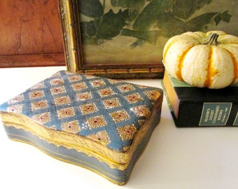 Vintage Italian Florentine Box, Florentine Art Hinged Box, Teal Blue and Gilded Gold Box, Coffee Table Decor, Hollywood Regency