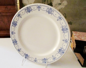 Vintage Syracuse China Neoclassical Plate, Blue and White Resturant Ware, Diner Plate
