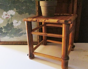 Bamboo Rattan Plant Stand, Boho Chic, British Colonial Style, Chinoiserie, Woven Wicker Stand