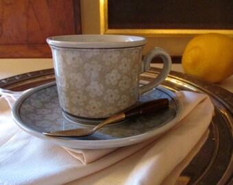 Vintage Villeroy & Boch Dalarna Demitasse Cup and Saucer, German Porcelain, Boho Chic, Mod Demitasse Cup and Saucer