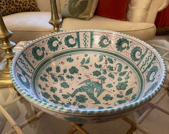 Vintage Grazia Deruta Italian Pottery Bowl, Hand Painted Turquoise And Cream Centerpiece or Serving Bowl,
