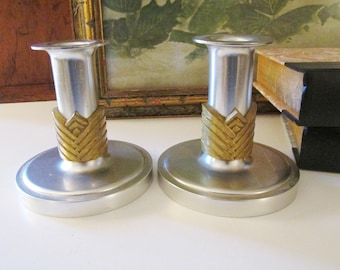 Kensington Candlestick Holders, Mid Century Aluminum Silver and Brass Candleholders, Lurelle Guild. Art Moderne Style