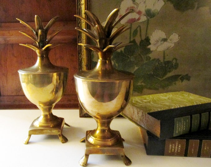Featured listing image: Vintage Pair Of Brass Pineapple Urn Candleholders, Hollywood Regency, Golden Pineapples Boxes, Mantel Decor, Chinoiserie