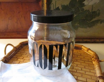 Retro Coffee Jar, Wheaton Consumer Products, Typography Jar, 1970's Mod Kitchen, Screw Off Lid, Bistro Kitchen Decor