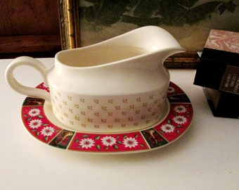 Vintage Charlton Hall by Kobe Gravy Boat and Under Tray/Relish Dish, Chinoiserie Imari Style Christmas China, Classic Traditions, 1980's