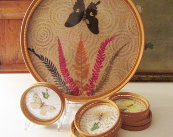 Vintage Rattan Tray and Coasters Set, Wicker Bamboo Drinks Tray with Preserved Butterflies, Five Coasters, Boho Bar Cart Decor