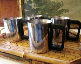 Vintage Set of Four Stainless Steel Mugs, Industrial Chic, Coffee Mugs, Camping Mugs, Father's Day Gift, Cabin Mugs