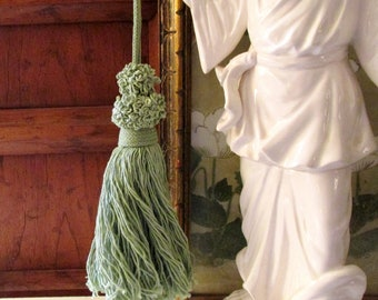 Vintage Houlès, Paris Cotton Tassel, Long Minty Green Cotton Tassel, Key Tassel, French Cotton Tassel, French Paris Tassel