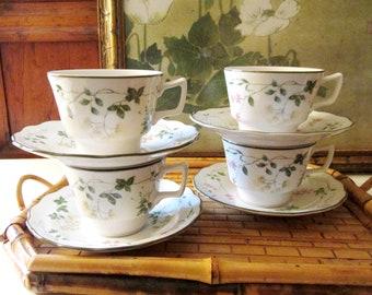 Royal Doulton Set of Four Teacups and Saucers, Southdown Pattern, 1980's Tea Set,