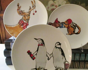 Vintage Set of Four Christmas Animals Dessert or Salad Plates, Holiday Plates, Macy's The Cellar,
