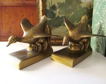 Vintage PM  Craftsman Bookends, Greese, Mallard Brass Metal Bookends, Library Decor, Farmhouse Decor