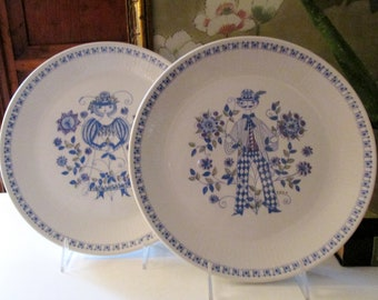 Vintage Figgjo Flint Turi Lotte Dinner Plate, 1970's Norway Blue and White Hand-Painted Maiden Boy and Girl