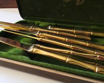 Six Bamboo Style Spreaders, Supreme Cutlery Corp Chinoiserie Chic,, Hollywood Regency Faux Bamboo Small Fruit Knives, 1970's Elegant Dining