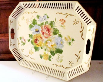 Vintage Hand Painted Floral Tole Tray, Large Tole Ware