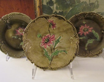Antique Trio of Imperial Bonn Germany Majolica Small Plates, Astra, Green and Pink Floral Plates, Wall Decor with Hangers,