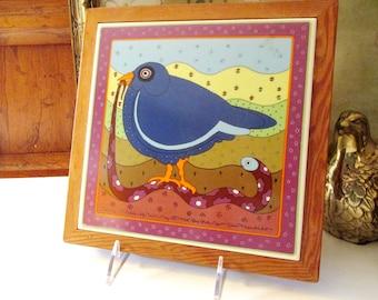 Vintage Taylor & Ng Tile Trivet, Pop Art Tile, Early Bird Catches The Worm, Win Ng 1982, San Francisco, Boho Home Office Decor, Vintage Gift