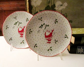 Two Georges Briard Night Before Christmas Plates, Coupe Salad Plates, Santa Claus Red and White Plates