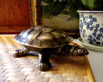 Vintage Brass Turtle Trinket Box, Brass Hinged Box, Turtle Figurine, Palm Beach Decor, Coffee Table Decor