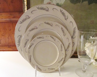 "Vintage California Made Flintridge Dinnerware, ""Continental White"", MCM, Dinner Plate, Salad, Butter Plate, Silver Trim"