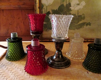 Vintage Homer Interior Votive Cups, Pair of Peg Homco Votive Candle Cups, Colored Votives, Red, Green and Clear Glass