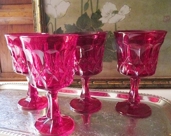 Four Noritake Ruby Red Water Goblets, Perspective Pattern, Thumbprint Design, Holiday Glasses,