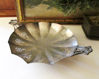 Vintage Bernard Rice's Son,Inc. Goth Silver Plated Footed Tray, Hammered Silver, Halloween Decor, Spider Web Style Candy Dish
