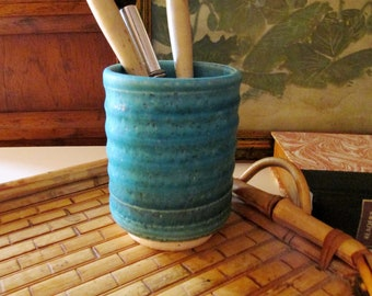 Art Pottery Tumbler, Turquoise Earthware Cup, Pencil Cup, Palm Beach Decor, Home Office Decor