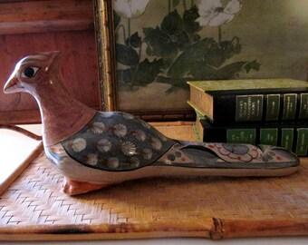 Vintage Mexican Tonala Hand Painted Bird, Folk Art Pottery, Large Boho Sculpture,