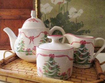 """Sango """"Home For Christmas"""" Teapot, Sugar and Creamer, Pink and Green Christmas China, Palm Beach Christmas, Pink Ribbon and Christmas Tree"""