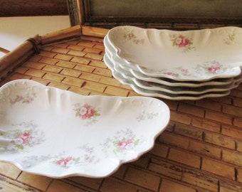 Five English Johnson Bros Bone Plates, Floral Small Plates, Romantic China, Tea Party Decor, English Cottage China