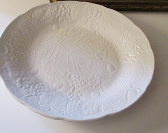 Vintage Majolica Plater by Burleigh, Davenport, Strawberry and Grape Leaf Pattern, English Ironstone, Farmhouse China