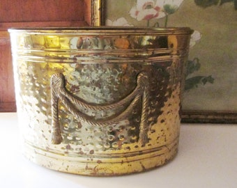 Vintage Hammered Brass Magazine Holder, Oval Container with Rope and Tassel Detail, Hollywood Regency, Planter, Storage