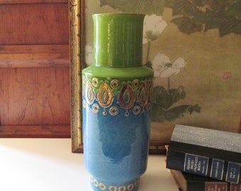 Tall Bitossi Rimini Italian Vase, Chartreuse and Blue Vintage Italian Pottery, Mid Century Green and Blue, Mad Med Decor, Palm Beach Decor
