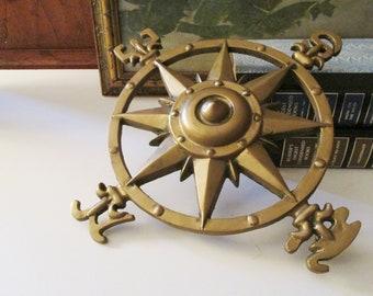 Brass Nautical Compass Wall Plaque Medallion, Metal Wall Art, Compass Rose, Garden Decor, Beach House Decor
