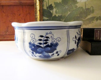 Blue and White Cachepot, Chinoiserie Planter, Hollywood Regency, Oriental Flower Pot, Cobalt Blue, Orchid Pot