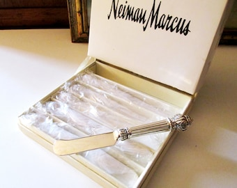 Neiman Marcus Silver Plated Spreaders, Vintage Set of Six Spreaders, Hollywood Regency Cocktail Decor,