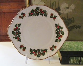 Rosina Queen's Yuletide Sweets Plate, Christmas Holly and Berry Cake Plate, Christmas Table Decor, English Chirstmas Plate, Holiday Decor