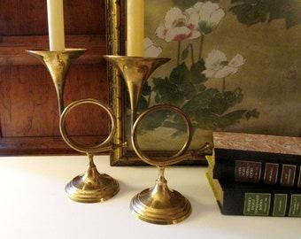 Vintage Brass French Horn Candleholders, Brass Candlesticks, French Horn, Mantel Decor, Christimas Brass Decor
