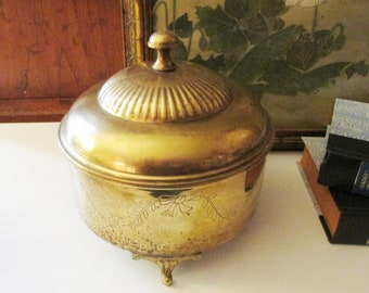 Vintage Brass Container, Footed Brass Lidded Vessel, Cachepot, Etched Brass Planter, Coffee Table Decor,