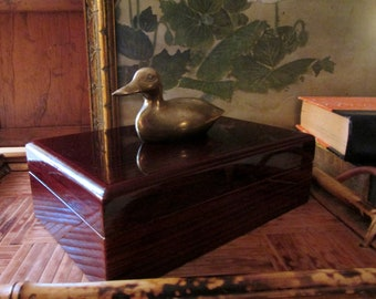 Vintage Divided Box with Brass Duck, Wood Playing Card Box, Gift For Dad, Farmhouse Chic, Trinket Box