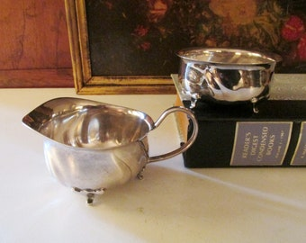 Vintage WMF Open Sugar and Creamer, Silver Plated Creamer and Sugar, Small Set, Tea Service, Art Nouveau Style
