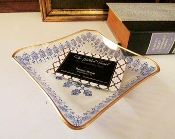 Vintage Glass Trinket Tray, Denmark Style Blue Catchall, Gold Trim Ring Holder, Denmark Style Dish, Entry Table Decor, Home Office Decor