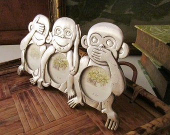 HK Perfect Retro Three Monkey 2 x 3 Portrait Photo Frame, See, Hear or Speak No Evil Silver Pewter Tone Frame, Retro Nursery Room Decor