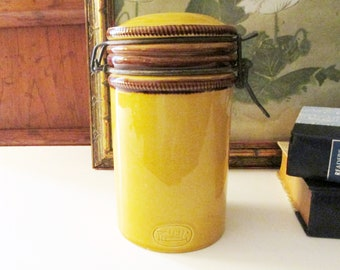Vintage Baldelli Italy Canister, Mustard Gold and Brown Italian Pottery Canister, Home Office Decor, Bistro Kitchen Decor, Tuscany Decor