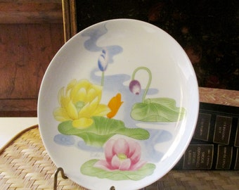 Vintage Chinoiserie Pastel Plate, Water Lily by Seymour Mann 1979, Porcelain Plate, Wall Gallery Decor