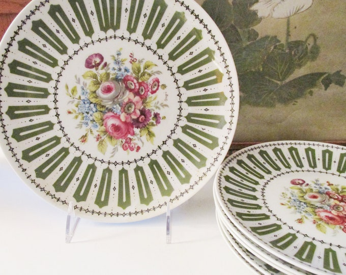 Featured listing image: French Limoges Dessert Plates, Seven Piece Set by Falcon Limoges, Peint A La Main, French Chic, Romantic Vintage Dinnerware