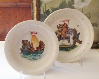 Vintage Lenox USA China Bears Heirloom Collection Cereal Bowl and Plate, Toddler Dinnerware, Baby Gift